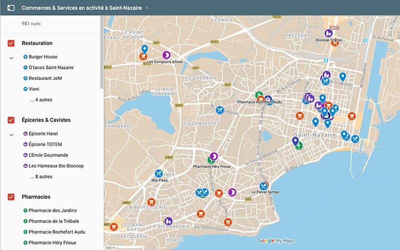 Confinement : une carte interactive des commerces et restaurants en activité à Saint-Nazaire